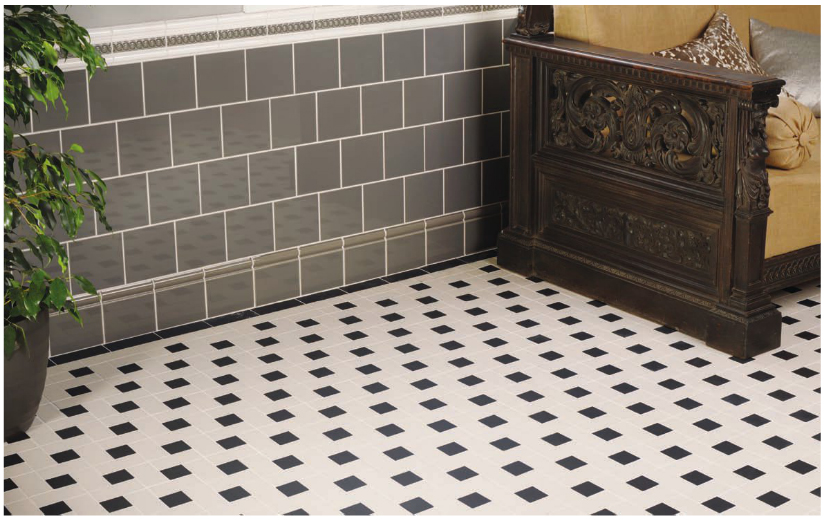black and white victorian floor tile lincoln pattern