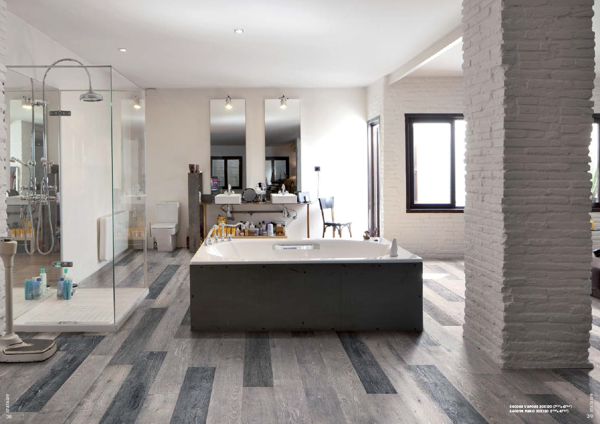 Tile featured in parade of homes guidebook rubble tile for Couleur salle de bain moderne